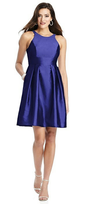 Sleeveless Halter Cocktail Dress with Pockets