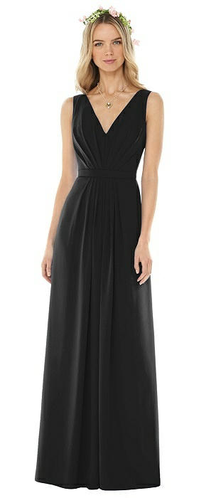 Sleeveless V-Pleat Sheer Crepe Gown