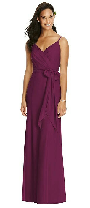 Wrap Bodice V-Back Trumpet Gown with Sash