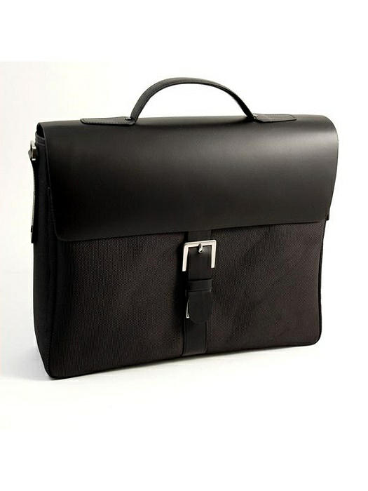 Briefcase Black Leather & Fabric, T.P.