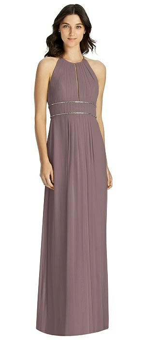 Keyhole Halter Gown with Rhinestone Trim