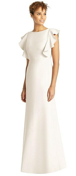Ruffle Cap Sleeve Open-back Trumpet Gown