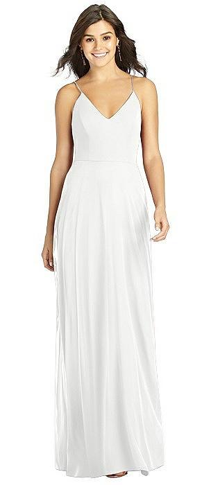 V-neck Criss Cross Back A-Line Chiffon Dress
