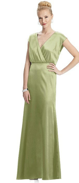 Cap Sleeve Wrap Blouson Charmeuse Gown