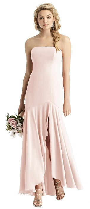 Strapless Sheer Crepe High-Low Gown