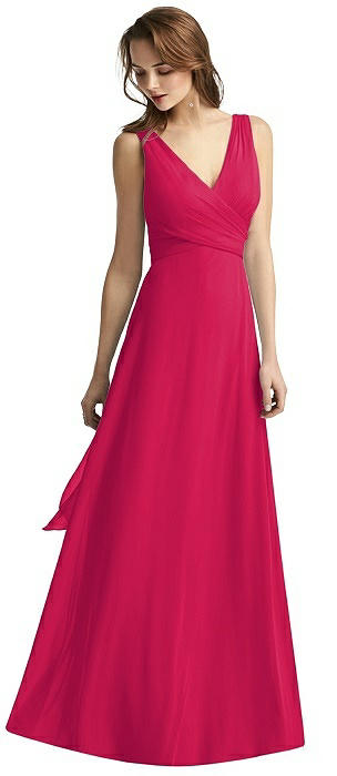 Wrap V-Neck Chiffon Gown