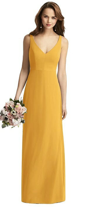 Long Sleeveless V-Back Chiffon Trumpet Dress