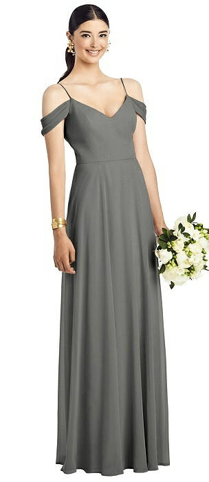Cold Shoulder V-Back Chiffon Gown