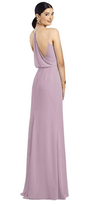 V-neck Draped Blouson Back Chiffon Gown