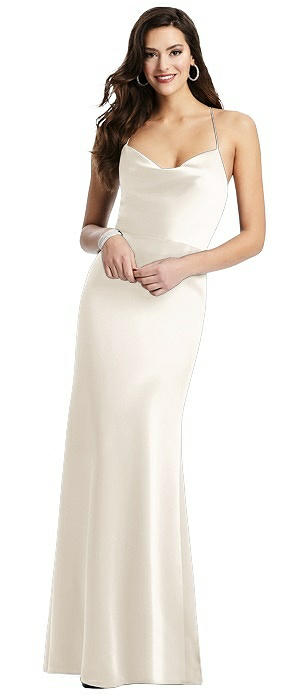Cowl-Neck Charmeuse Gown with Criss Cross Back