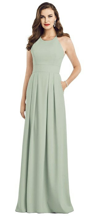 Crepe Criss-Cross Back Halter Gown with Pockets