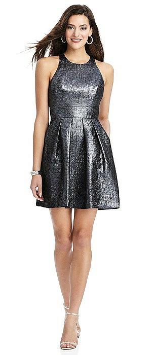 Metallic Halter Cocktail Dress with Pockets