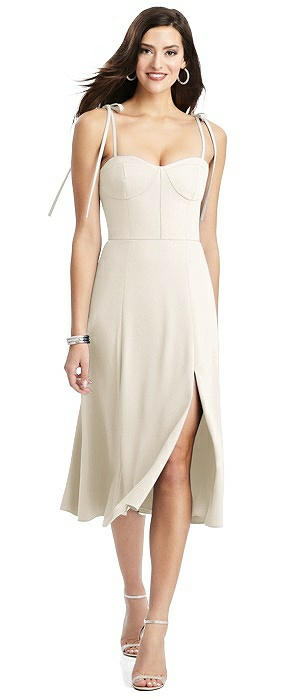 Bustier Crepe Midi Dress with Adjustable Bow Straps