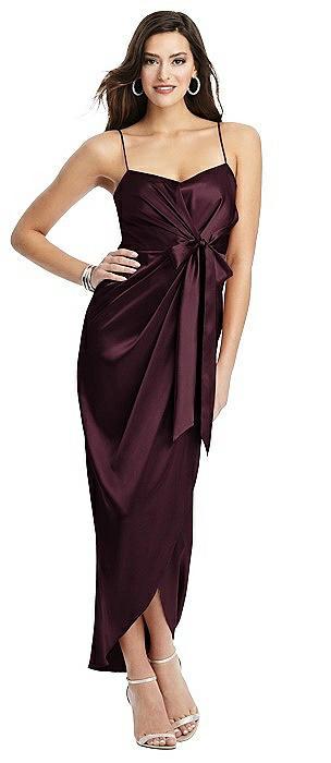 Faux-Wrap Midi Dress with Split Tulip Skirt