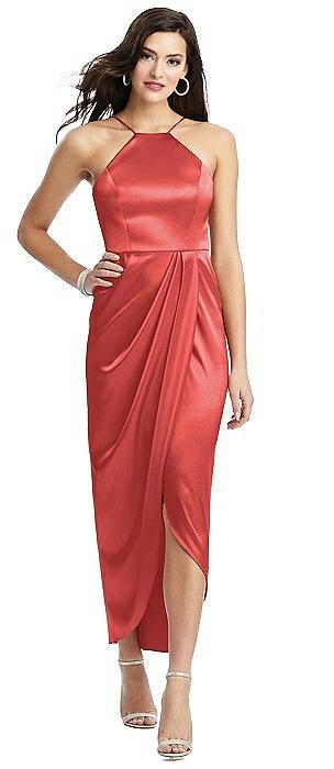 Halter Midi Dress with Split Tulip Skirt