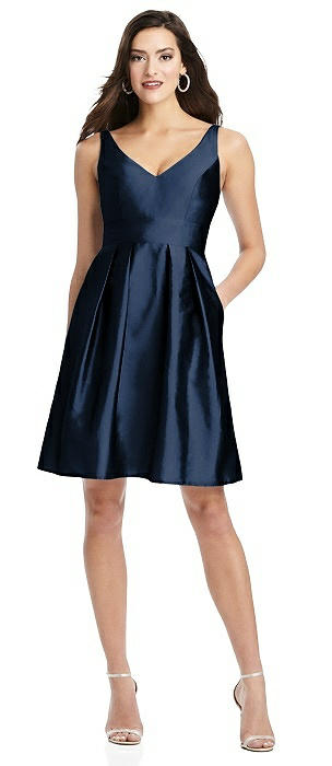 Sleeveless V-Back Cocktail Dress with Pockets