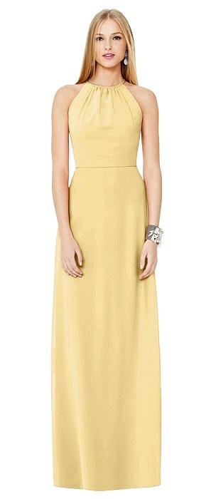 Open-Back Shirred Halter Dress