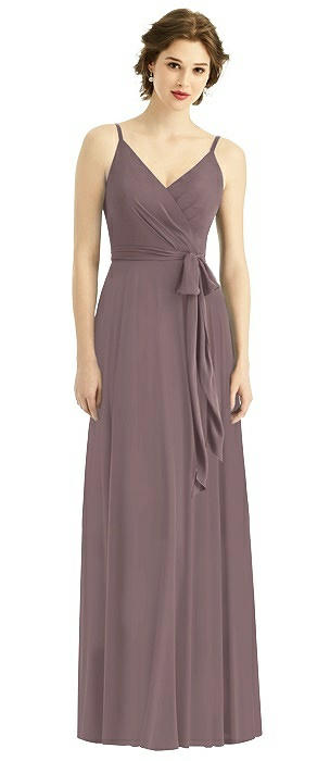 Draped Bodice V-back Gown with Sash