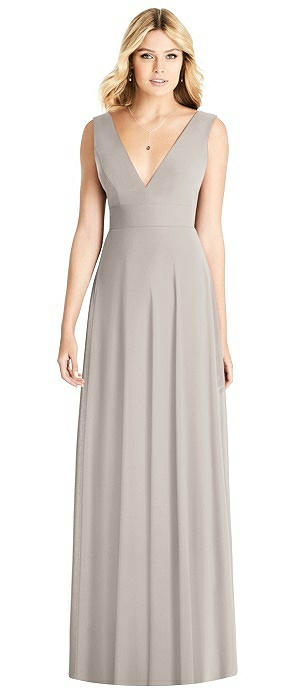 Sleeveless Deep V-Back Sheer Crepe Gown