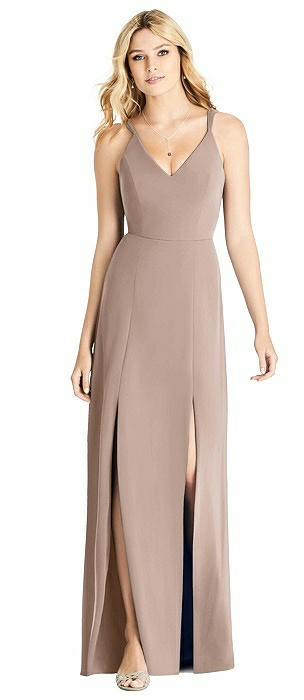 V-neck Gown with Dual Spaghetti Straps
