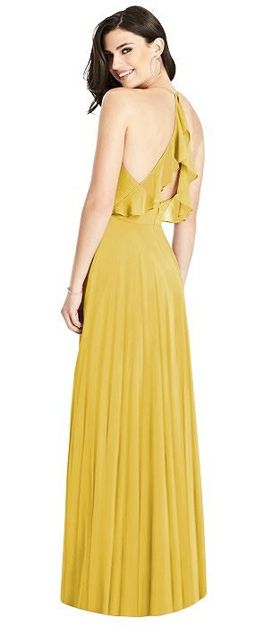 Wrap Bodice Lux Chiffon Gown with Ruffle Detail
