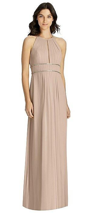 Keyhole Halter Gown with Rhinestone Trim