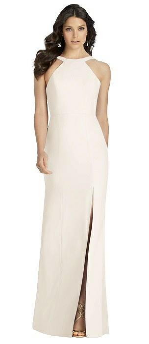 Low Criss Cross Back Crepe Trumpet Gown