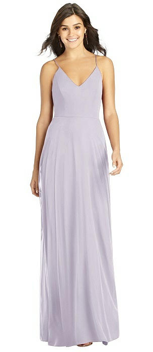 V-neck Criss Cross Back A-Line Chiffon Dress