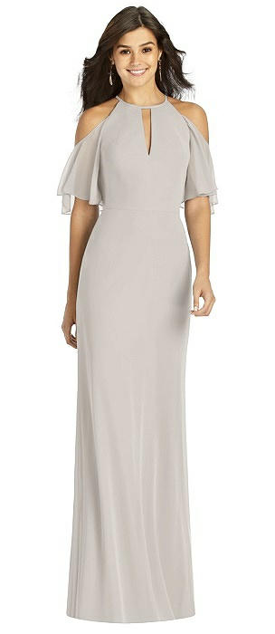 Ruffle Cold Shoulder Halter Mermaid Gown