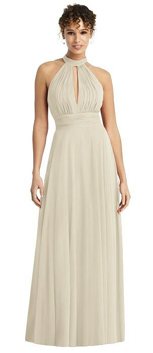 Long Chiffon Open-Back Halter Dress