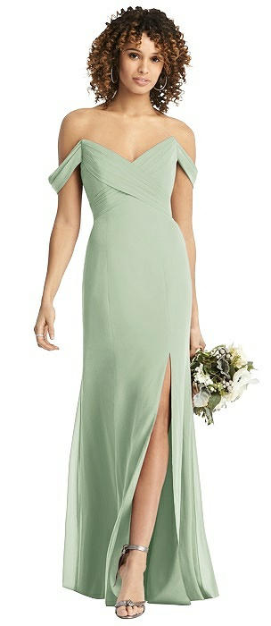 Off-the-Shoulder Chiffon Dress with Sash
