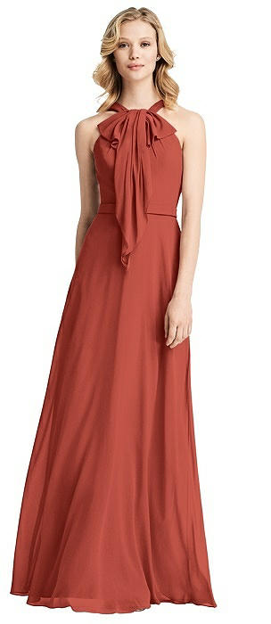 Long Ruffle Halter Chiffon Dress