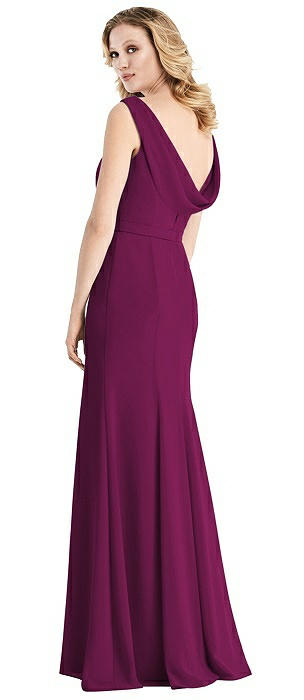 Cowl-Back Sleeveless Chiffon Gown