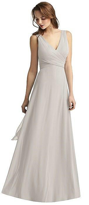 Wrap V-Neck Chiffon Gown
