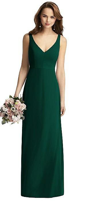 Long Sleeveless V-Back Chiffon Trumpet Dress