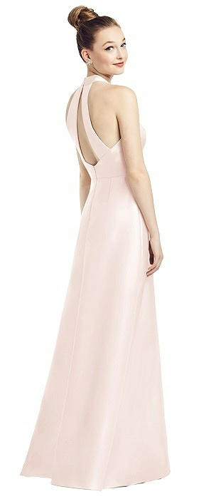 Open-Back High-Neck Satin Gown with Pockets