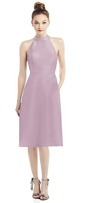 Open-Back High-Neck Satin Cocktail Dress
