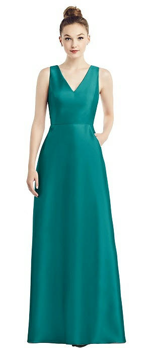 Sleeveless V-Neck Satin Gown with Pockets