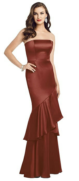 Strapless Charmeuse Ruffle Trumpet Gown