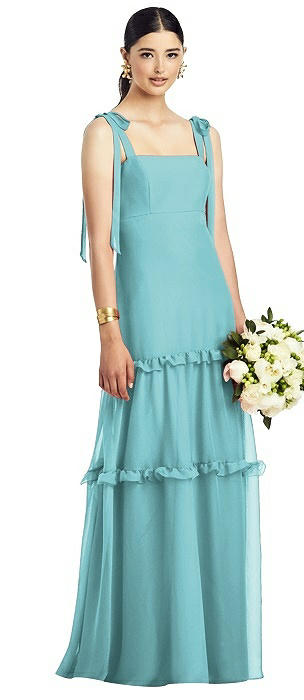 Bowed Flat Strap Chiffon Gown with Ruffle Skirt
