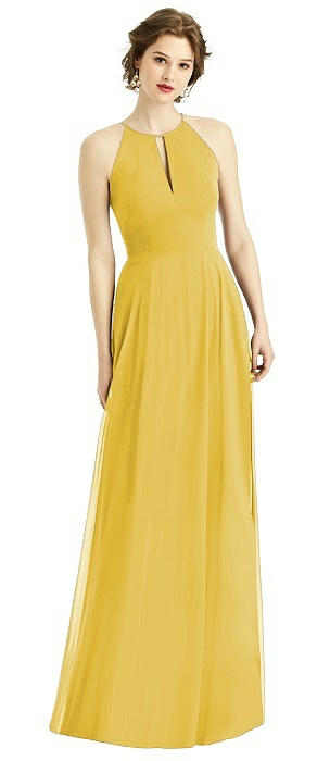 Keyhole Halter Gown with Full Skirt