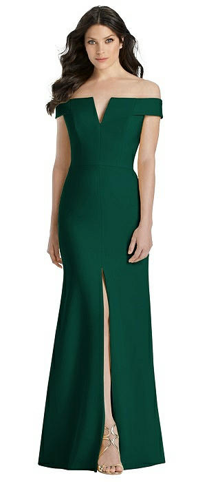 Off-the-Shoulder Notch Trumpet Gown with Front Slit