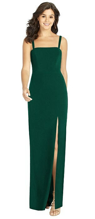 Flat Strap Stretch Mermaid Gown with Front Slit