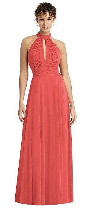 Long Chiffon Open-Back Halter Dress