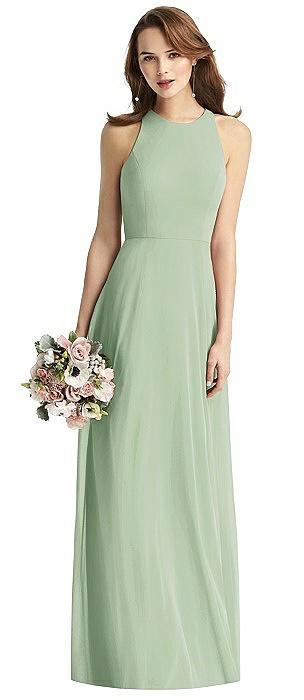 Long Sleeveless Halter Chiffon Dress