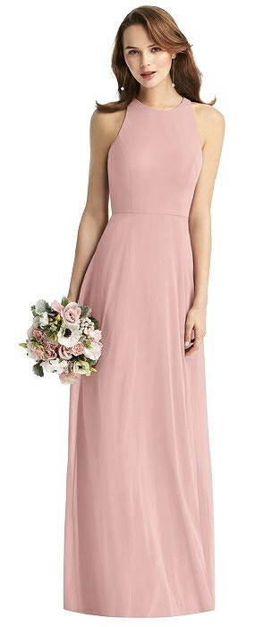 Long Sleeveless Halter Chiffon Dress