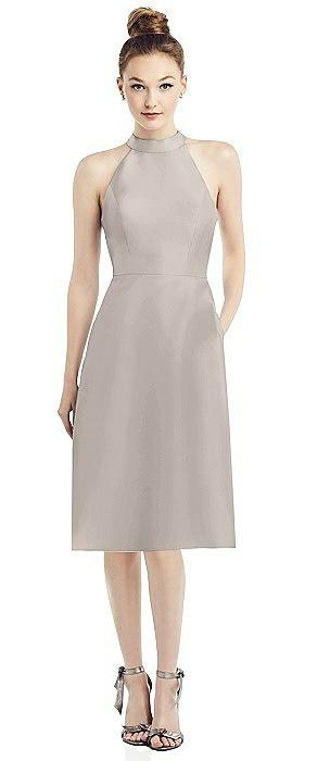 Open-Back High-Neck Satin Cocktail Dress