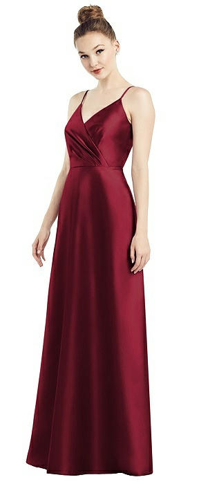 Draped Surplice Bodice Satin Gown with Pockets