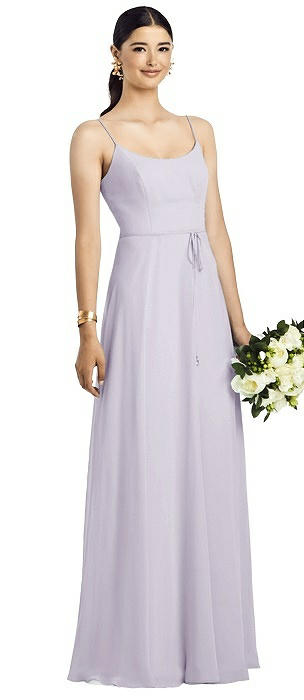 Spaghetti Strap Chiffon Gown with Jeweled Skinny Sash