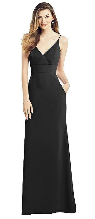 V-neck Spaghetti Strap Long Crepe Dress